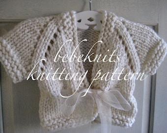Bebeknits Bulky Ribbon Tied Baby Cardigan Knitting Pattern