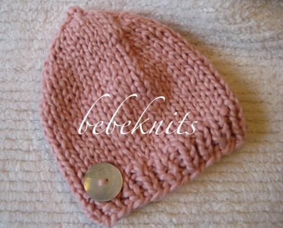 Hand Knit Pink Organic Cotton Newborn Hat