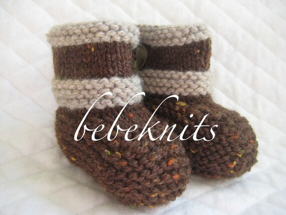 Hand Knit Baby Boots In Brown Tweed