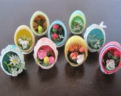 Vintage Antique Hand Made Decorative Eggs, 9 Egg Collection