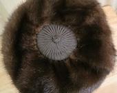 Vintage 1950s Brown Mink Pillbox Hat, Designed by Nan Duskin