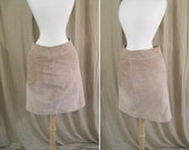 Vintage 1980s Tan Suede/Leather Skirt