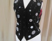 RESERVED for Alangrieal - Vintage 80s Velvet Black Snowflake Vest, Embroidery & Beading