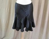 Vintage 80s Black Satin Feel Shiny Skirt