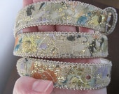 Vintage 80s White Leather Belt with Glitter & Water Colored Fabric