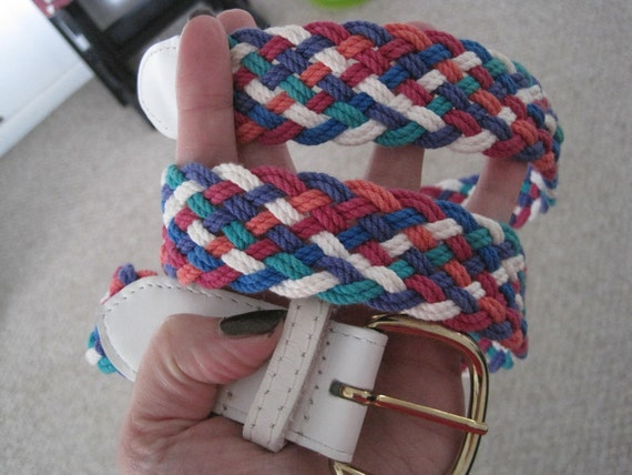 Vintage 80s Multi Colored Braided Rope Belt