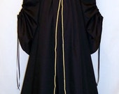 Sale ~ Medieval/Renaissance Black Cathedral Sleeve Costume Gown, Custom made to order.
