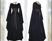 Weekly Sale ~ Medieval/Renaissance Black Trumpet Sleeve Costume Gown, Custom made to order in your Color.