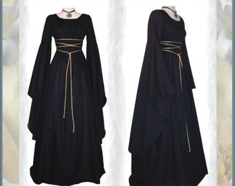 Sale ~ Medieval/Renaissance Black Trumpet Sleeve Costume Gown, Custom made to order in your Color.