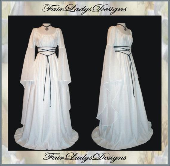 Sale medieval renaissance white satin trumpet by for Denim wedding dresses for sale