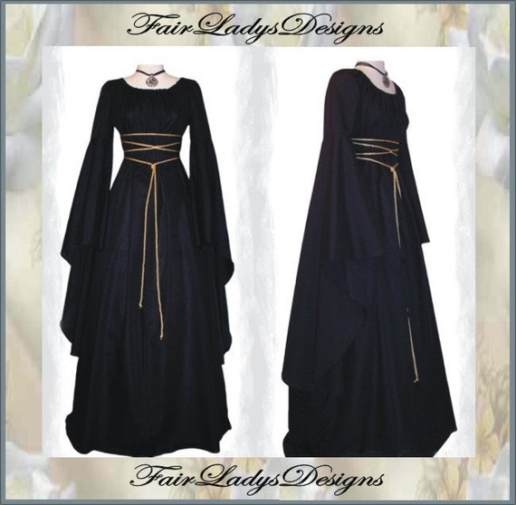 Weekend Sale ~ Medieval/Renaissance Black Trumpet Sleeve Costume Gown, Custom made to order in your Color.