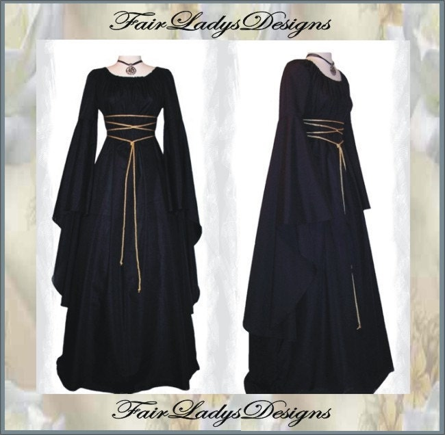 Sale ~ Medieval/Renaissance Black Trumpet Sleeve Costume Gown, Custom made to order in your Color. steampunk buy now online