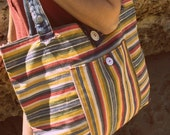 claudia - recycled bag of colorfull stripes