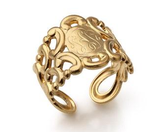 Signet Ring - Gold ring - Vintage inspired - Monogram Inspired Ring - Adjustable Ring - Retro Jewelry - Statement ring - engraved ring -