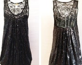 Adele Regal Dress: Glamorous Little Black Sequins Dress with Lace Balloon Shape French Fashion Style Cocktail Dress Sexy Luxurious