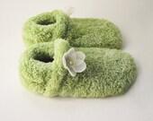Fuzzy Green Flower Slippers - Girl's or Women's