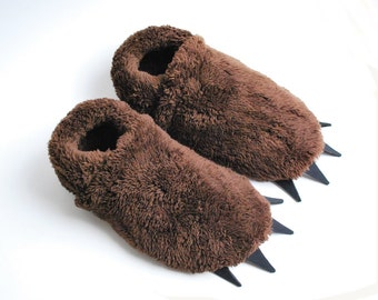 Bigfoot Slippers - Brown with Black Claws - Adult Sizes - perfect gift for men