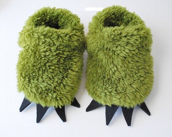 Baby Monster Slippers - fuzzy green monster paws with claws