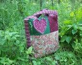 Tote bag, rag heart, green, pink, paisley