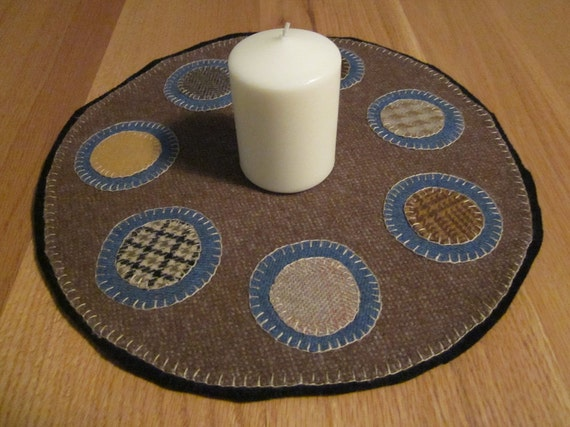 Wool penny rug, candle mat