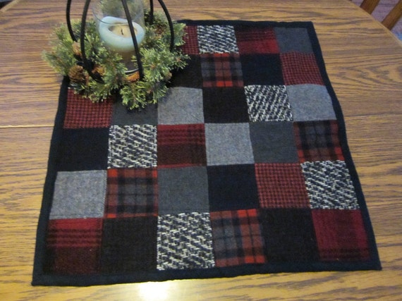 Wool patchwork mini quilt, table topper