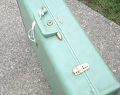 Large Vintage Creme De Menthe Taperlite Suitcase with Key