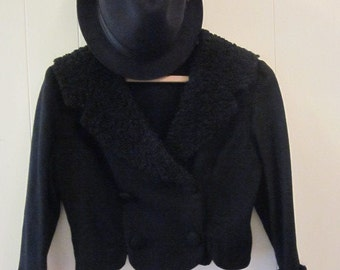 Black Vintage Double Breasted Bolero Jacket with Faux Fur on Collar and Sleeves size small / medium