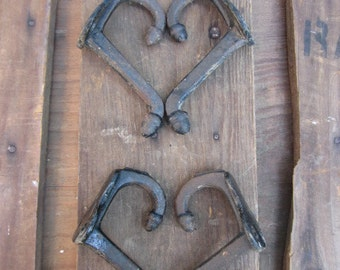 4 Cast Iron Double Acorn Hooks Salvaged From Old School built in 1915
