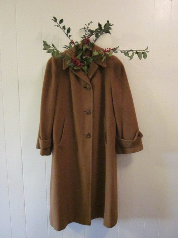 1940s Cocoa Brown 100% Cashmere Coat  Loomed by Einiger Winter Fall S/M