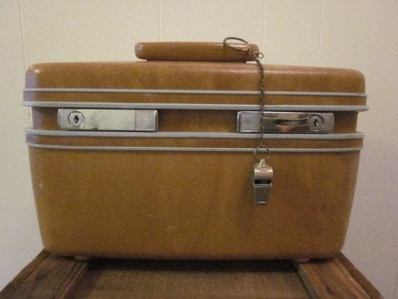 Mid Century Brown Samsonite Train Case Travel Luggage Storage Make Up Case