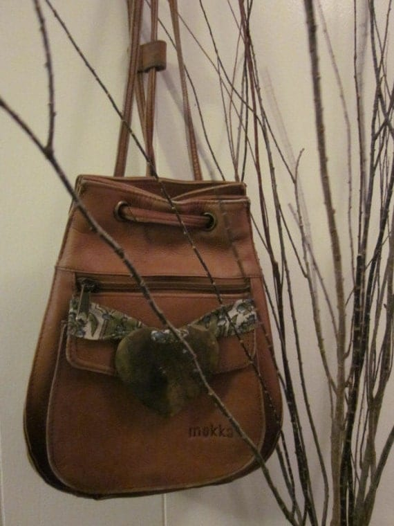 Upcycled Brown Leather Backpack   Purse Vintage Fabric and Hammered Brass Heart