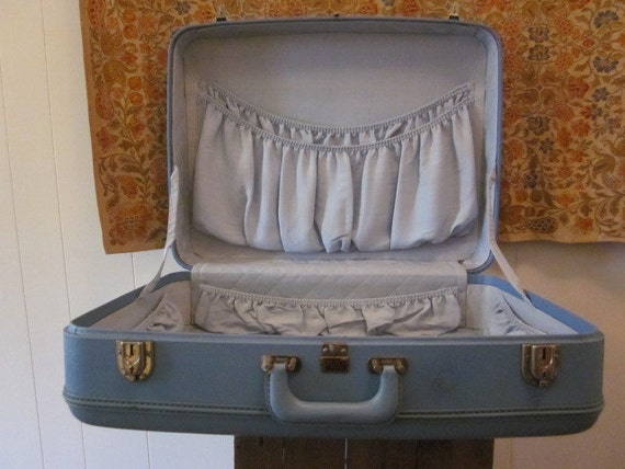 1950s Large Blue Rare Platt Suitcase - Luggage