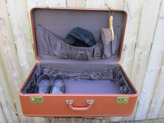 Deep and Wide - A Large Brown Vintage Suitcase