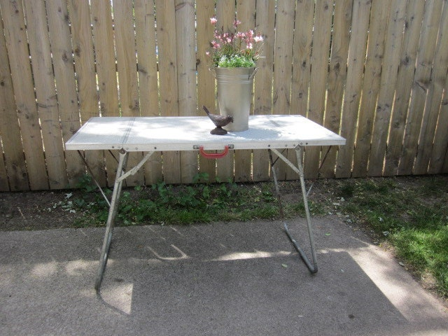 Vintage Metal Poratable Folding Camping Activity Table By