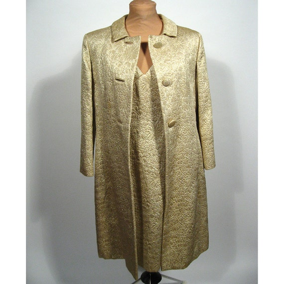 Gold brocade wiggle dress and matching coat. Lee Claire
