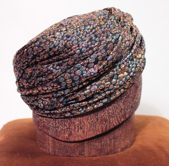 Multicolored metallic turban. 1960's.
