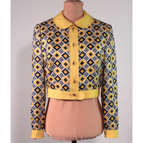 Checker cab. Silk print and linen jacket. 1960's Mod.