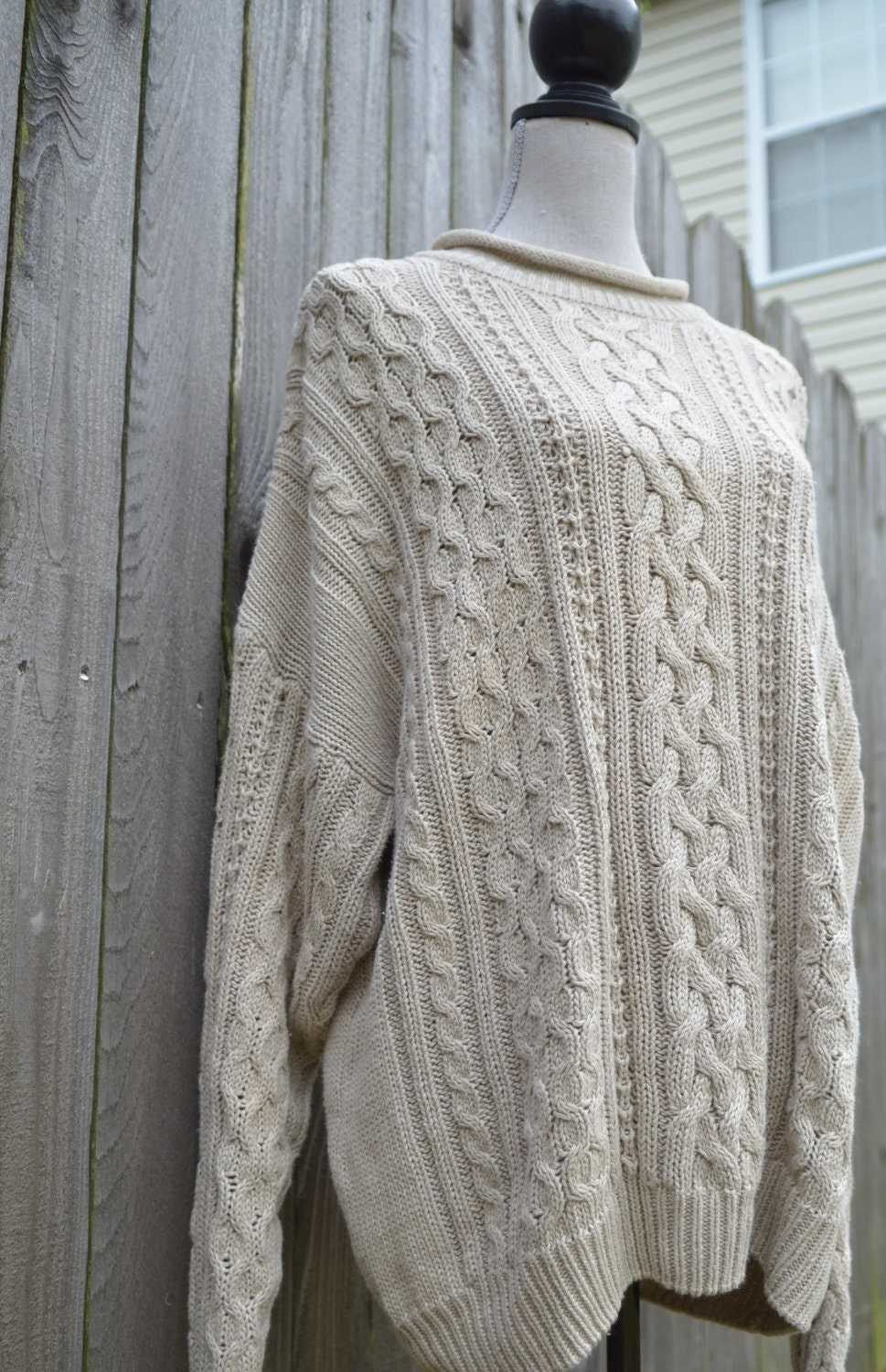 Christopher and Banks all over cable knit sweater in a wide red and cream stripe. Crew neck sweater with long sleeves and small shoulder pads that could easily be removed. Old Navy Cable Knit sweater sz L cream ivory mock turtleneck cozy warm pullover.