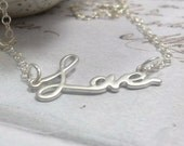 Necklace with Pendant, Love Word Charm on Sterling Silver Chain Necklace, Valentine's day