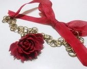 Pendant Necklace Large Cabochon Cabbage Rose,  Wine Red, Brass Large Link Chain, Wine Red Ribbon
