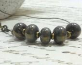 Lampwork Handmade  Beads Necklace Bronze Patina