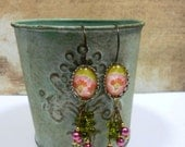 Dangle Earrings Vintage Style Glass Cabochon Glass Beads Everyday Jewelry
