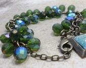 Czech Glass Blue Green Beadwork Dangle Charm Bracelet with Brass Charms, Womens Jewelry