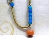 Chrysocolla Heishi Beads and yellow Aventurine Gemstone with Brass Heishi Beads Necklace Modern Style