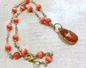 Pendant Necklace with Vintage Beadwork Chain , Swarovski Copper Pear Shaped Crystal Pendant