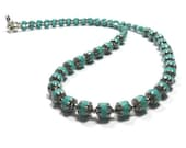 Necklace, Turquoise with Silver Ends Czech Cathedral Fire Polished Glass Beadwork Necklace,Everyday Jewelry