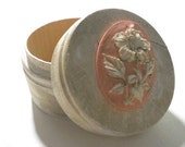 Small Wood Trinket Box, Distressed with Pink Cameo