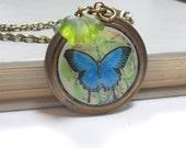 Blue Butterfly Pendant Necklace, Green Czech Glass Leaf Beads, Brass Long Chain