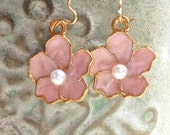 Pink Flower Earrings, Gold Filled Ear Wires, Everyday Jewelry, Pink Jewelry