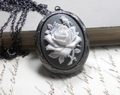 Locket Necklace,  Long Chain Gunmetal, Flower Cameo,  Silver Locket,  Everyday Jewelry, Womens Jewelry